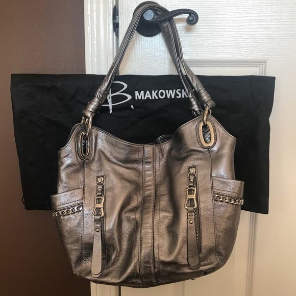 b. makowsky Bags   Brand New B Makowsky Silver Metallic Leather Bag ... 77def1179e